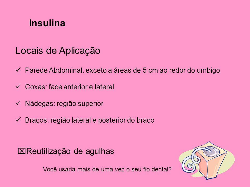 Insulina Locais de Aplicação  Parede Abdominal: exceto a áreas de 5 cm ao redor do umbigo  Coxas: face anterior e lateral  Nádegas: região superior