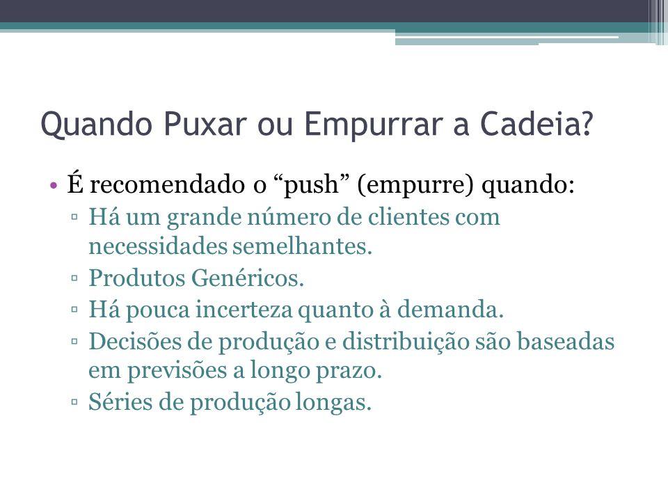 """Quando Puxar ou Empurrar a Cadeia? •É recomendado o """"push"""" (empurre) quando: ▫Há um grande número de clientes com necessidades semelhantes. ▫Produtos"""