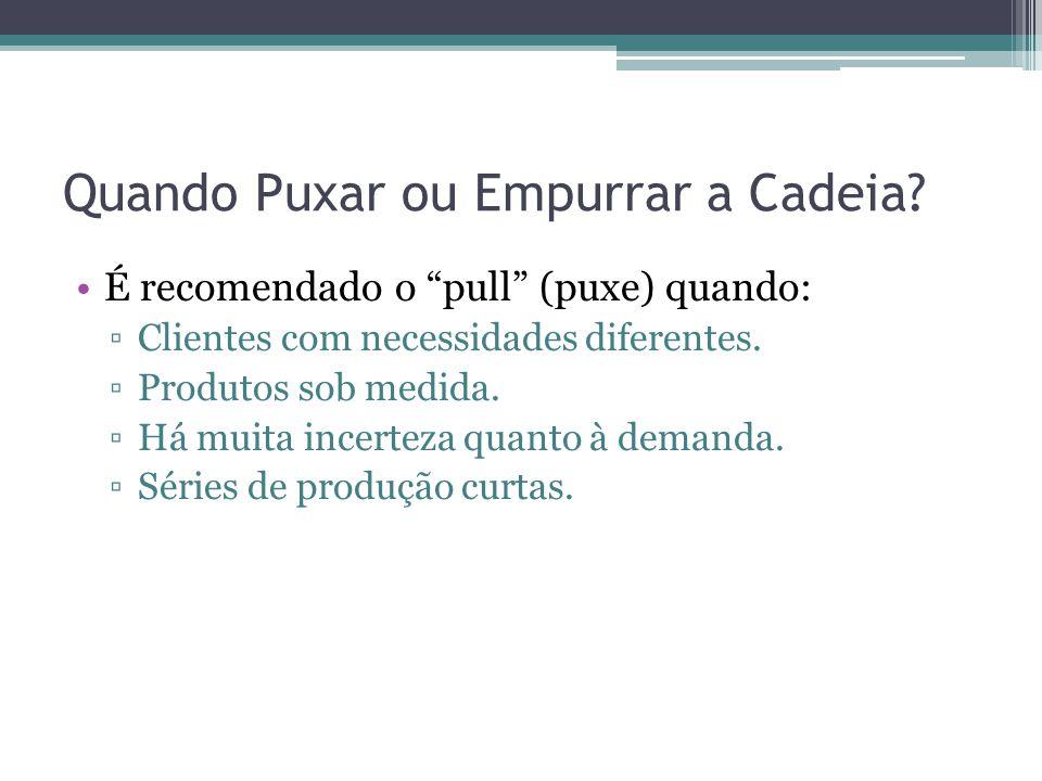 """Quando Puxar ou Empurrar a Cadeia? •É recomendado o """"pull"""" (puxe) quando: ▫Clientes com necessidades diferentes. ▫Produtos sob medida. ▫Há muita incer"""