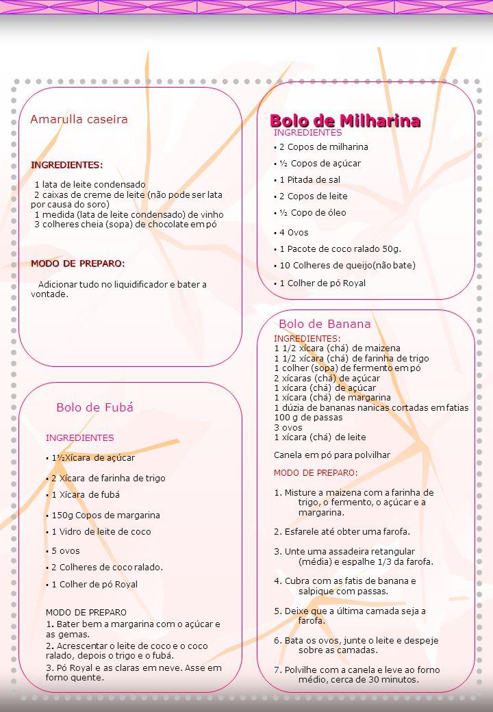 Bolo de Milharina Bolo de Milharina ▪ 2 Copos de milharina ▪ ½ Copos de açúcar ▪ 1 Pitada de sal ▪ 2 Copos de leite ▪ ½ Copo de óleo ▪ 4 Ovos ▪ 1 Paco