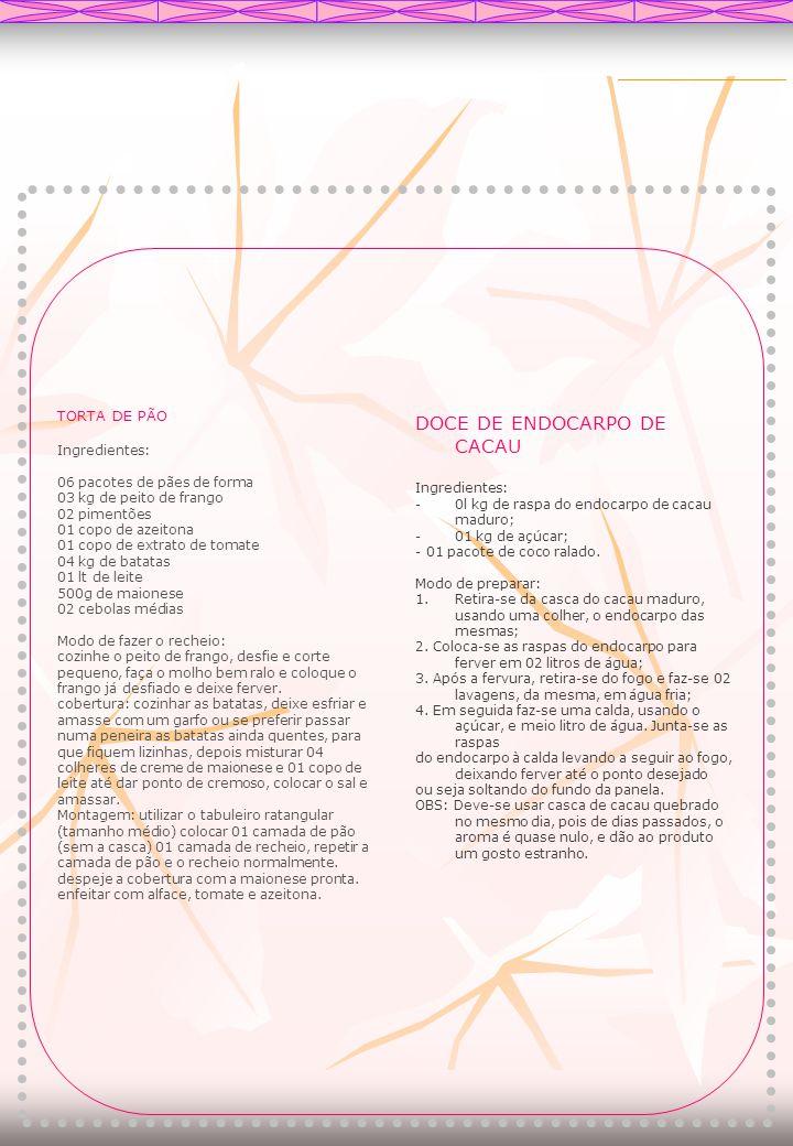 DOCE DE ENDOCARPO DE CACAU Ingredientes: -0l kg de raspa do endocarpo de cacau maduro; -01 kg de açúcar; - 01 pacote de coco ralado. Modo de preparar: