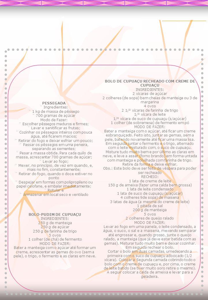PESSEGADA ¨ Ingredientes: ¨ 1 kg de massa de pêssego ¨ 700 gramas de açúcar Modo de Fazer: ¨ Escolher pêssegos maduros e firmes; ¨ Lavar e sanitificar