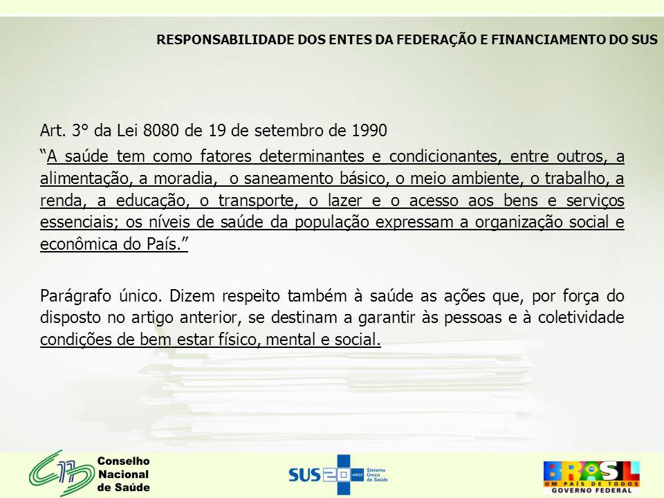 """Art. 3° da Lei 8080 de 19 de setembro de 1990 """"A saúde tem como fatores determinantes e condicionantes, entre outros, a alimentação, a moradia, o sane"""