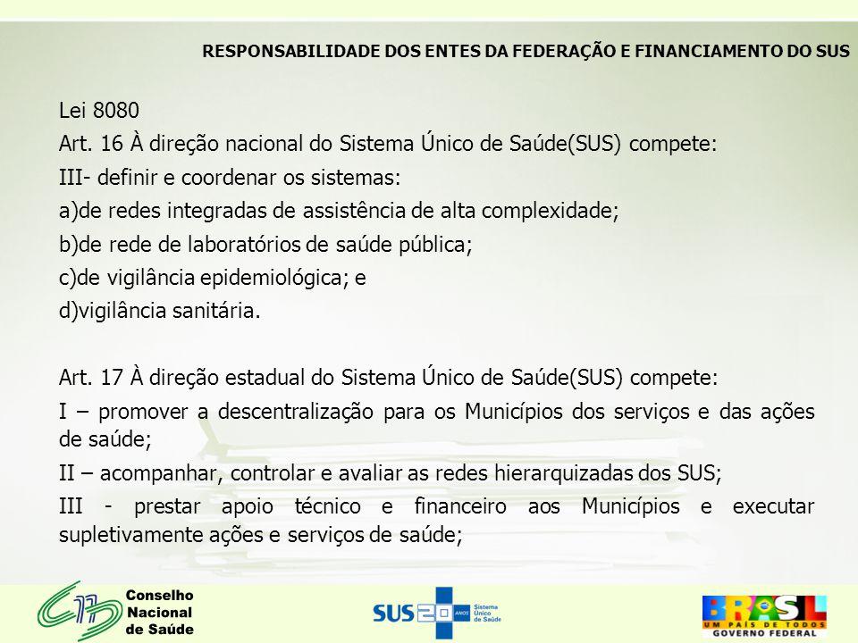 Lei 8080 Art. 16 À direção nacional do Sistema Único de Saúde(SUS) compete: III- definir e coordenar os sistemas: a)de redes integradas de assistência