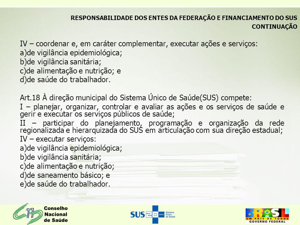 CONTINUAÇÃO IV – coordenar e, em caráter complementar, executar ações e serviços: a)de vigilância epidemiológica; b)de vigilância sanitária; c)de alimentação e nutrição; e d)de saúde do trabalhador.