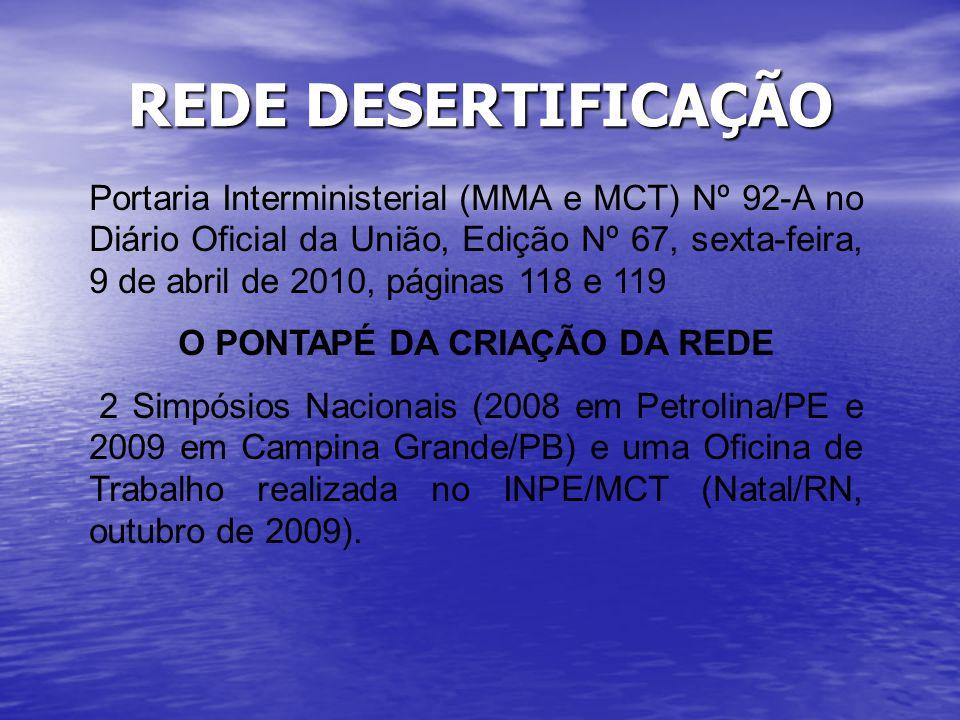 REDE DESERTIFICAÇÃO Portaria Interministerial (MMA e MCT) Nº 92-A no Diário Oficial da União, Edição Nº 67, sexta-feira, 9 de abril de 2010, páginas 1
