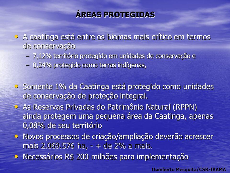 ÁREAS PROTEGIDAS • A caatinga está entre os biomas mais crítico em termos de conservação –7,12% território protegido em unidades de conservação e –0,2