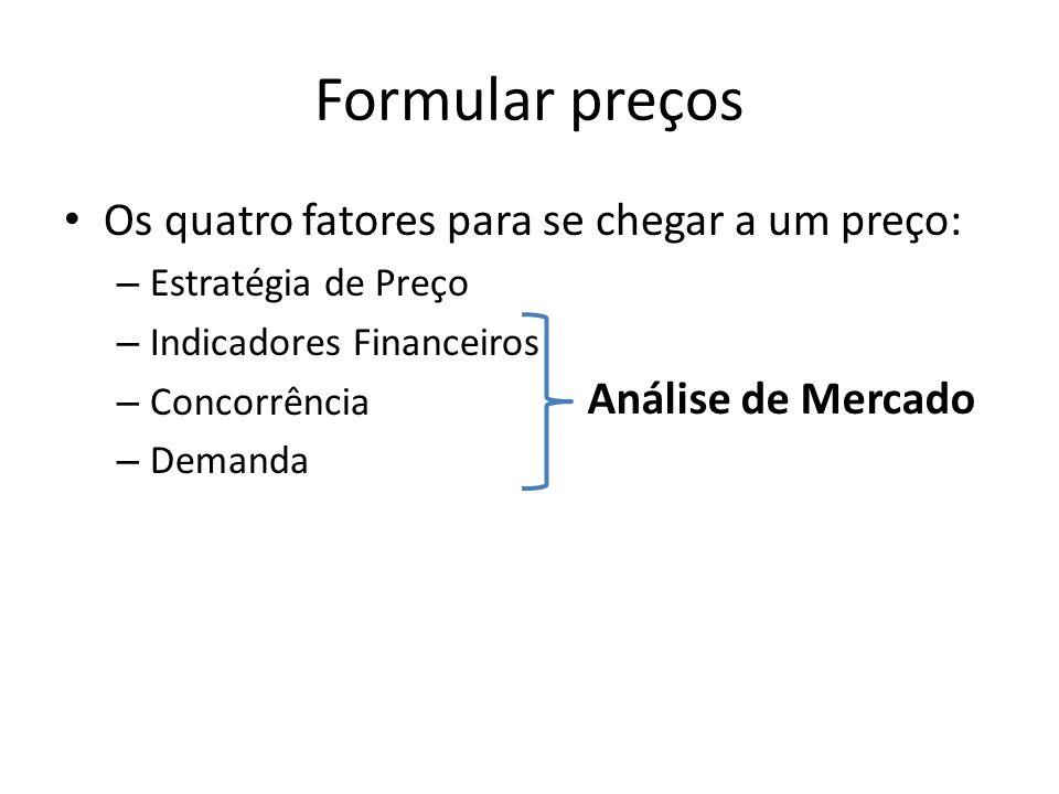 Formular preços • Os quatro fatores para se chegar a um preço: – Estratégia de Preço – Indicadores Financeiros – Concorrência – Demanda Análise de Mercado