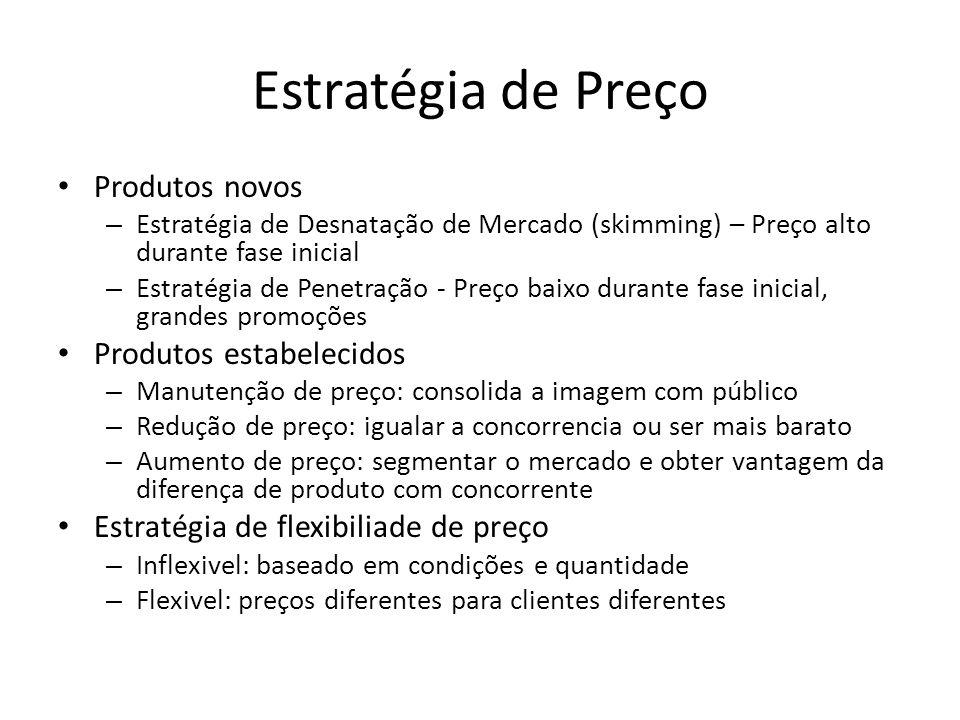 Estratégia de Preço • Produtos novos – Estratégia de Desnatação de Mercado (skimming) – Preço alto durante fase inicial – Estratégia de Penetração - Preço baixo durante fase inicial, grandes promoções • Produtos estabelecidos – Manutenção de preço: consolida a imagem com público – Redução de preço: igualar a concorrencia ou ser mais barato – Aumento de preço: segmentar o mercado e obter vantagem da diferença de produto com concorrente • Estratégia de flexibiliade de preço – Inflexivel: baseado em condições e quantidade – Flexivel: preços diferentes para clientes diferentes
