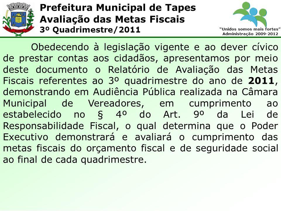 Prefeitura Municipal de Tapes Unidos somos mais fortes Administração 2009-2012 Avaliação das Metas Fiscais 3º Quadrimestre/2011 RESULTADO PREVIDENCIÁRIO (I-II)2.590.502,93 Saldo no Inicio do exercício.