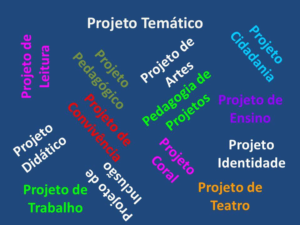 Projeto Temático Projeto Pedagógico Projeto Didático Projeto de Ensino Projeto de Trabalho Pedagogia de Projetos Projeto de Inclusão Projeto de Leitura Projeto de Teatro Projeto de Artes Projeto de Convivência Projeto Coral Projeto Cidadania Projeto Identidade