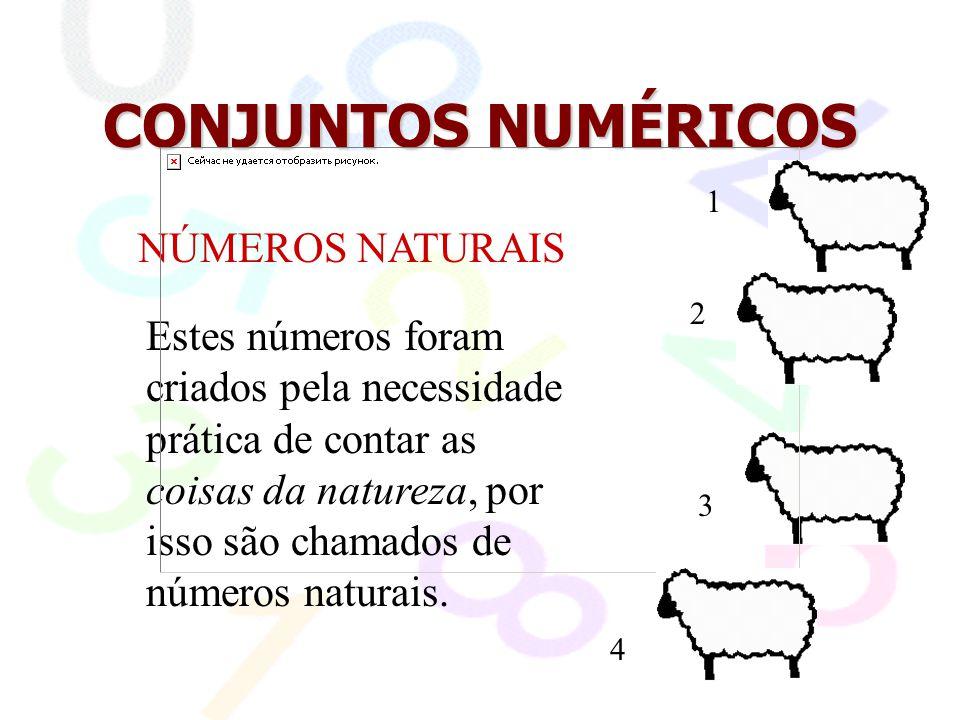 CONJUNTOS NUMÉRICOS NÚMEROS NATURAIS A representação matemática deste conjunto é: N = { 1, 2, 3, 4, 5,...