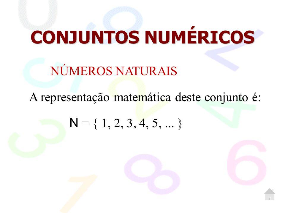 CONJUNTOS NUMÉRICOS NÚMEROS NATURAIS A representação matemática deste conjunto é: N = { 1, 2, 3, 4, 5,... }