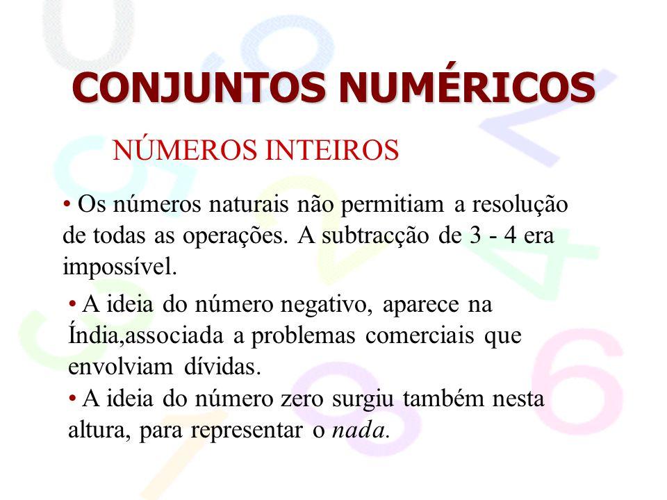 CONJUNTOS NUMÉRICOS NÚMEROS INTEIROS A representação matemática deste conjunto é: Z = {..., -3, -2, -1, 0, 1, 2, 3,...}