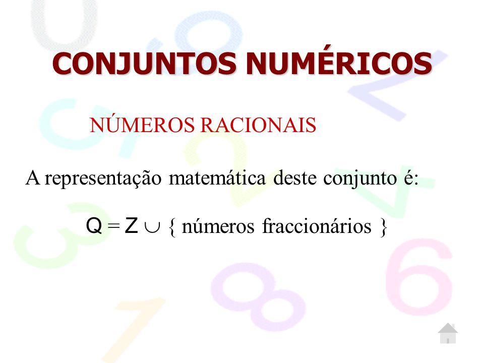 CONJUNTOS NUMÉRICOS NÚMEROS RACIONAIS Q = Z  { números fraccionários } A representação matemática deste conjunto é: