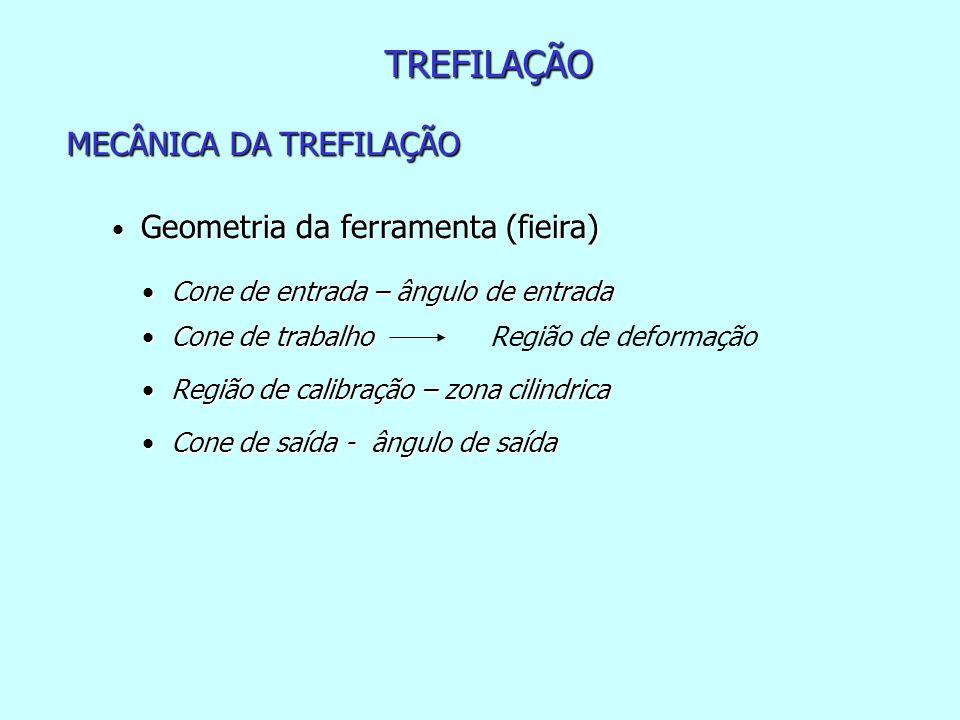 TREFILAÇÃO MECÂNICA DA TREFILAÇÃO • Geometria da ferramenta (fieira) • Cone de entrada – ângulo de entrada • Cone de trabalho • Região de calibração –