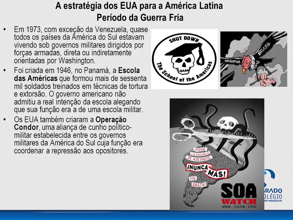 A estratégia dos EUA para a América Latina Período da Guerra Fria • Em 1973, com exceção da Venezuela, quase todos os países da América do Sul estavam