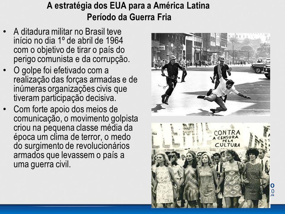 • A ditadura militar no Brasil teve início no dia 1º de abril de 1964 com o objetivo de tirar o país do perigo comunista e da corrupção. • O golpe foi