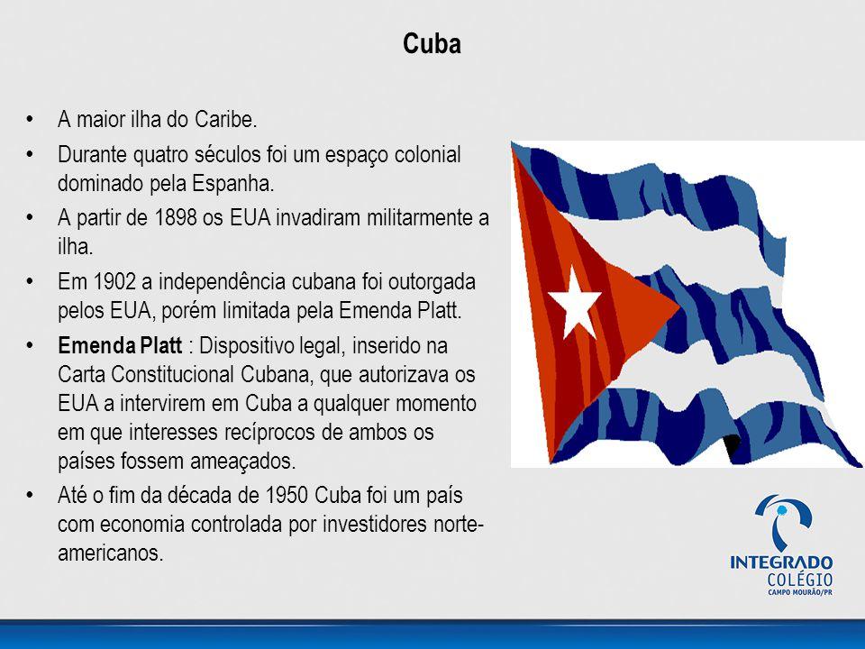 Cuba • A maior ilha do Caribe. • Durante quatro séculos foi um espaço colonial dominado pela Espanha. • A partir de 1898 os EUA invadiram militarmente