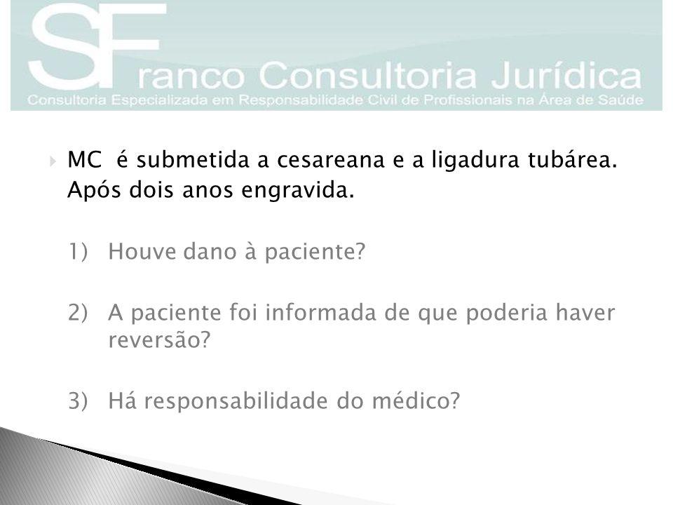  MC é submetida a cesareana e a ligadura tubárea. Após dois anos engravida. 1)Houve dano à paciente? 2)A paciente foi informada de que poderia haver