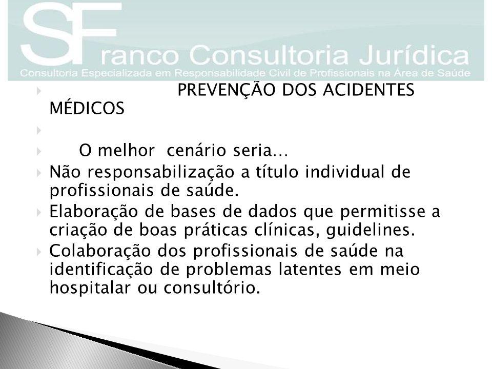  PREVENÇÃO DOS ACIDENTES MÉDICOS   O melhor cenário seria…  Não responsabilização a título individual de profissionais de saúde.  Elaboração de b