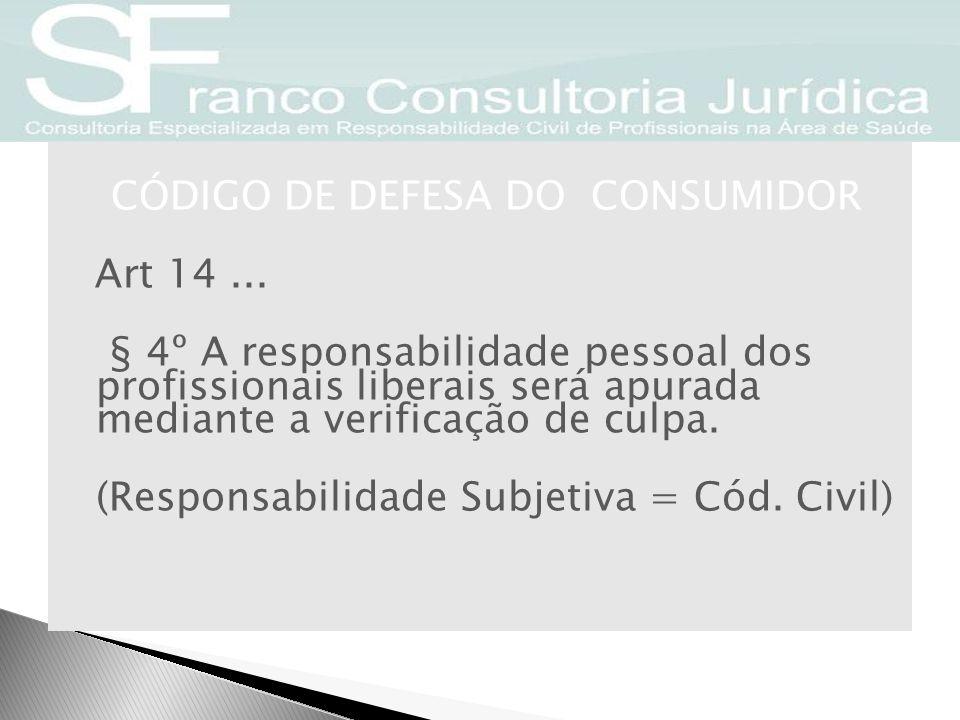 CÓDIGO DE DEFESA DO CONSUMIDOR Art 14... § 4º A responsabilidade pessoal dos profissionais liberais será apurada mediante a verificação de culpa. (Res