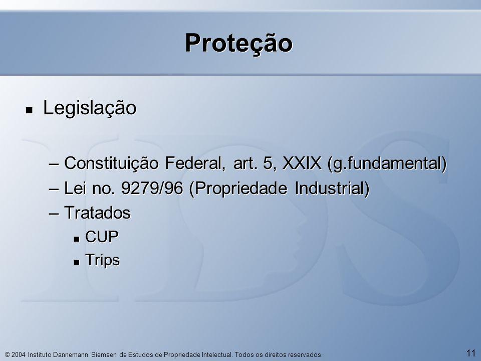 © 2004 Instituto Dannemann Siemsen de Estudos de Propriedade Intelectual. Todos os direitos reservados. 11 Proteção  Legislação –Constituição Federal