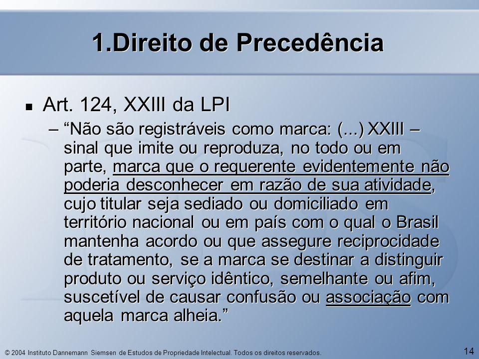 © 2004 Instituto Dannemann Siemsen de Estudos de Propriedade Intelectual. Todos os direitos reservados. 14 1.Direito de Precedência  Art. 124, XXIII