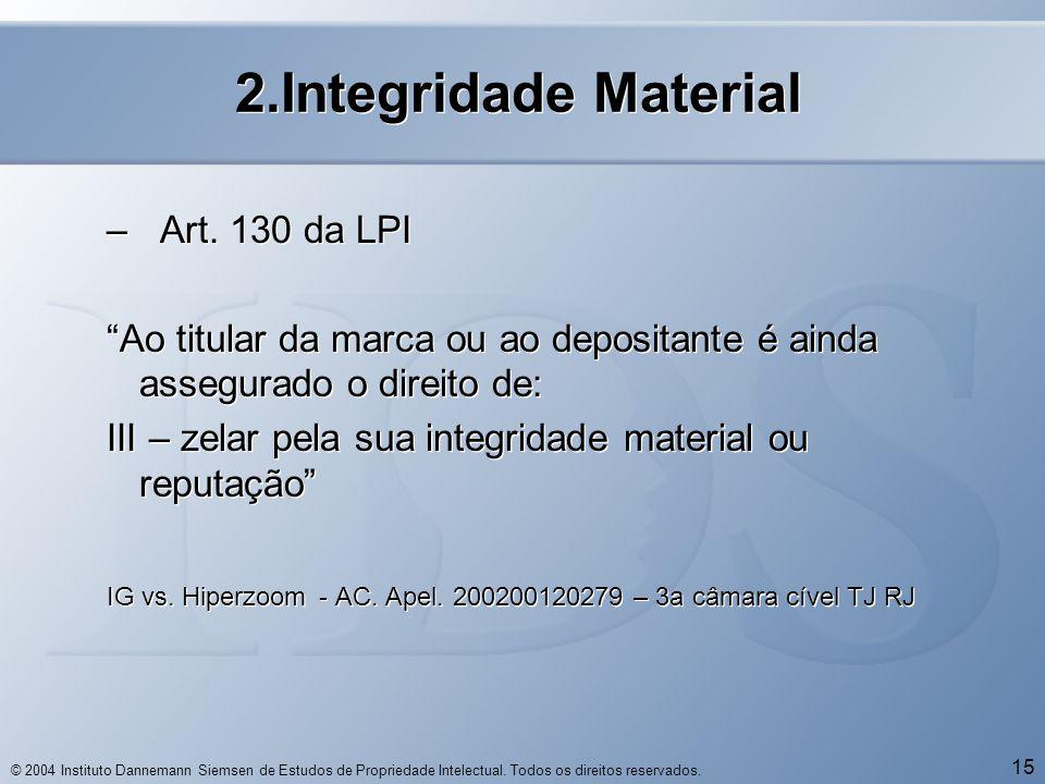 "© 2004 Instituto Dannemann Siemsen de Estudos de Propriedade Intelectual. Todos os direitos reservados. 15 2.Integridade Material – Art. 130 da LPI ""A"