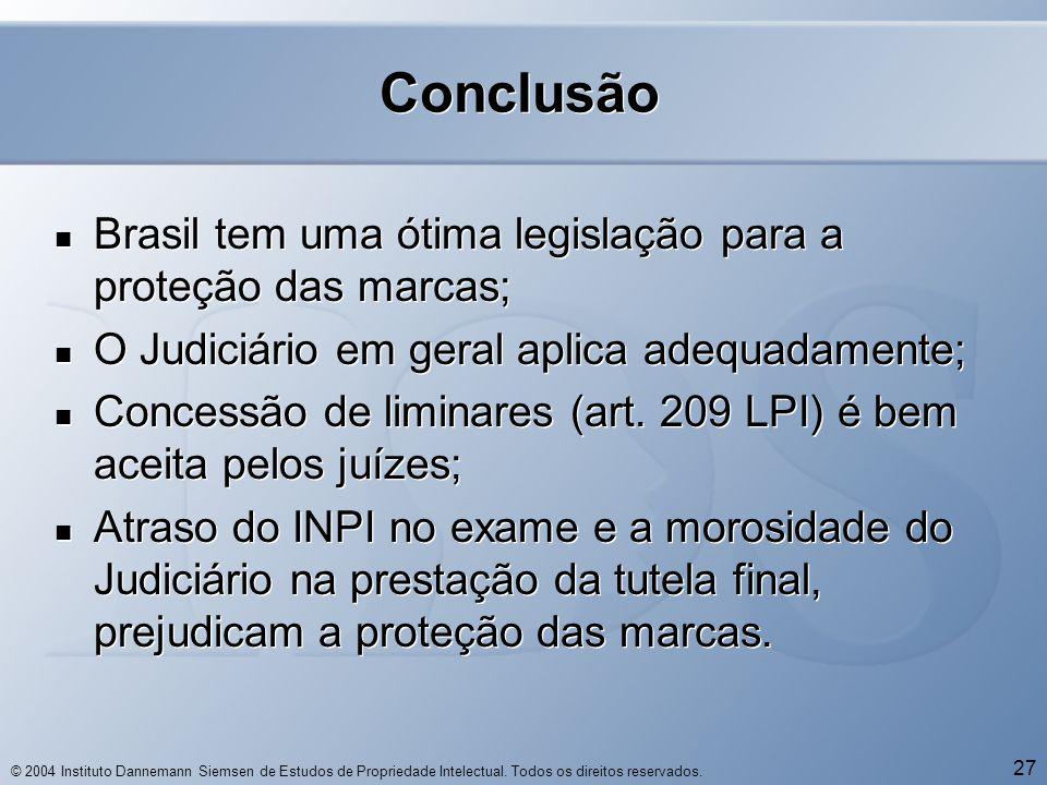 © 2004 Instituto Dannemann Siemsen de Estudos de Propriedade Intelectual. Todos os direitos reservados. 27 Conclusão  Brasil tem uma ótima legislação