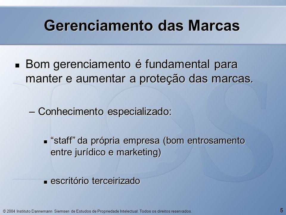 © 2004 Instituto Dannemann Siemsen de Estudos de Propriedade Intelectual. Todos os direitos reservados. 5 Gerenciamento das Marcas  Bom gerenciamento