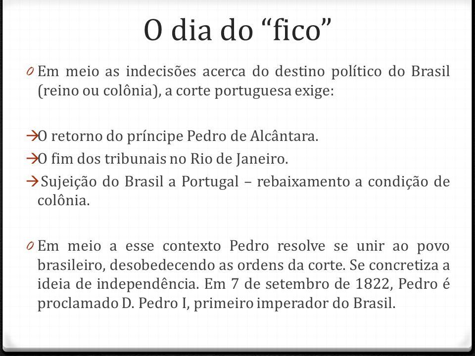 """O dia do """"fico"""" 0 Em meio as indecisões acerca do destino político do Brasil (reino ou colônia), a corte portuguesa exige:  O retorno do príncipe Ped"""