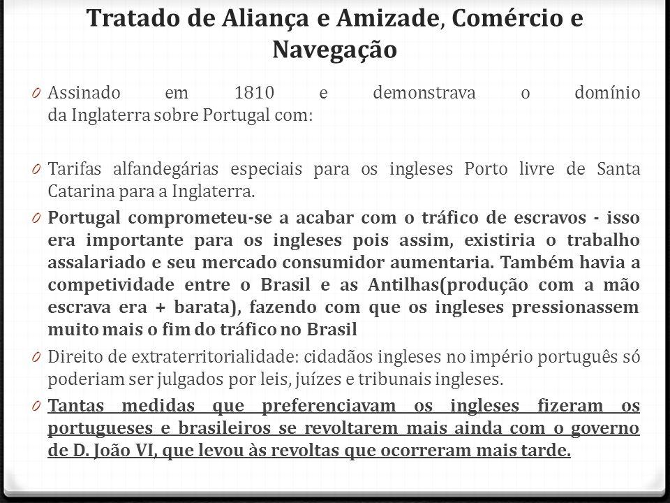 Tratado de Aliança e Amizade, Comércio e Navegação 0 Assinado em 1810 e demonstrava o domínio da Inglaterra sobre Portugal com: 0 Tarifas alfandegária