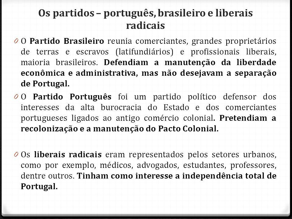 Os partidos – português, brasileiro e liberais radicais 0 O Partido Brasileiro reunia comerciantes, grandes proprietários de terras e escravos (latifu