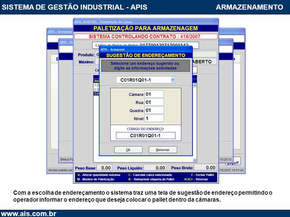 SISTEMA DE GESTÃO INDUSTRIAL - APIS www.ais.com.br ARMAZENAMENTO Com a escolha de endereçamento o sistema traz uma tela de sugestão de endereço permit