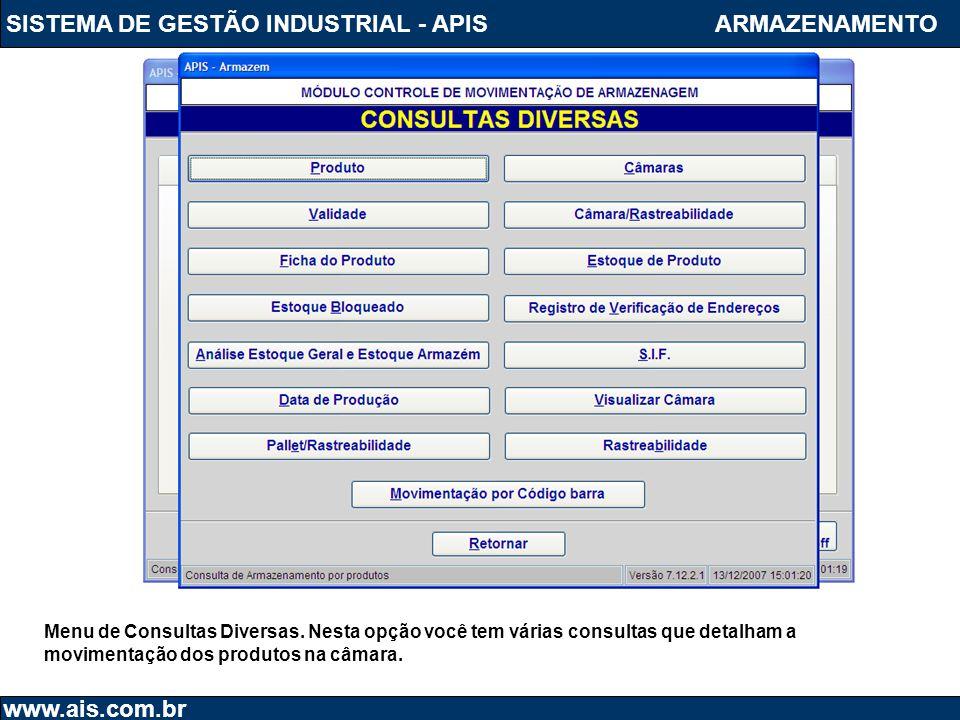 SISTEMA DE GESTÃO INDUSTRIAL - APIS www.ais.com.br ARMAZENAMENTO Menu de Consultas Diversas. Nesta opção você tem várias consultas que detalham a movi
