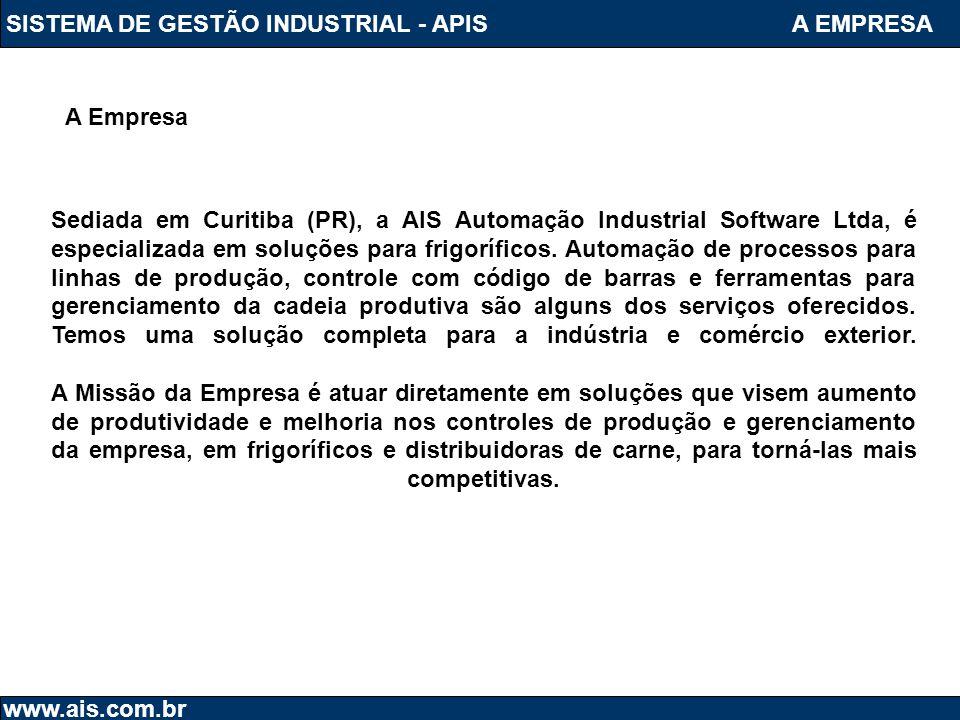SISTEMA DE GESTÃO INDUSTRIAL - APIS www.ais.com.br Sediada em Curitiba (PR), a AIS Automação Industrial Software Ltda, é especializada em soluções par