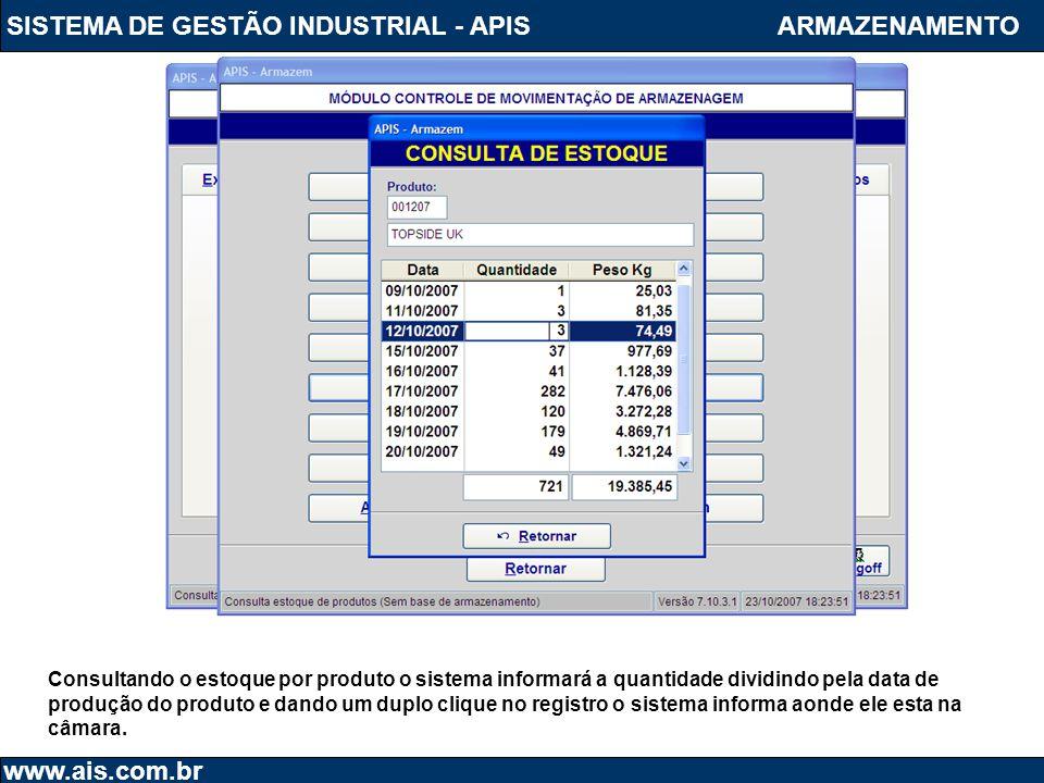 SISTEMA DE GESTÃO INDUSTRIAL - APIS www.ais.com.br ARMAZENAMENTO Consultando o estoque por produto o sistema informará a quantidade dividindo pela dat