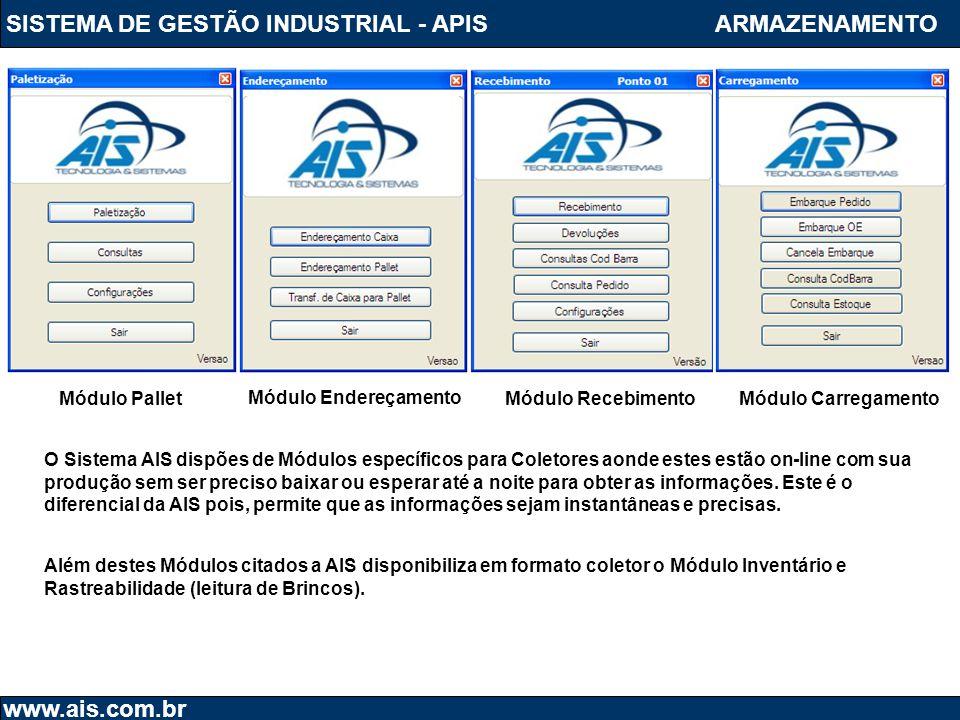 SISTEMA DE GESTÃO INDUSTRIAL - APIS www.ais.com.br ARMAZENAMENTO Além destes Módulos citados a AIS disponibiliza em formato coletor o Módulo Inventári