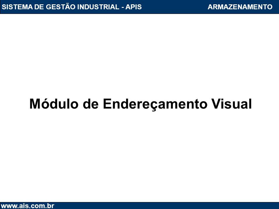 SISTEMA DE GESTÃO INDUSTRIAL - APIS www.ais.com.br ARMAZENAMENTO Módulo de Endereçamento Visual