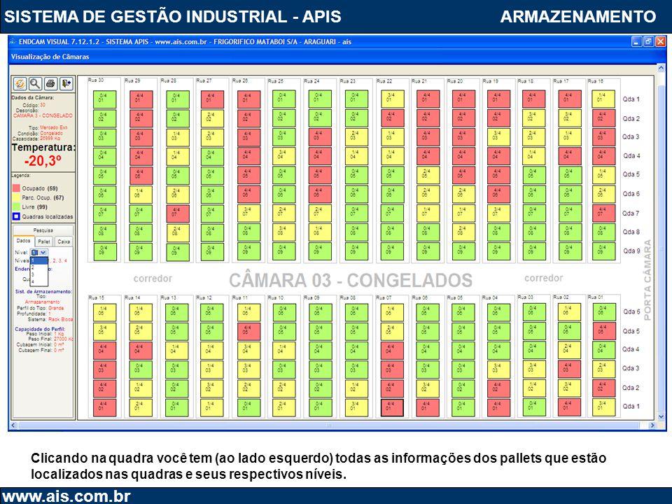 SISTEMA DE GESTÃO INDUSTRIAL - APIS www.ais.com.br ARMAZENAMENTO Clicando na quadra você tem (ao lado esquerdo) todas as informações dos pallets que e