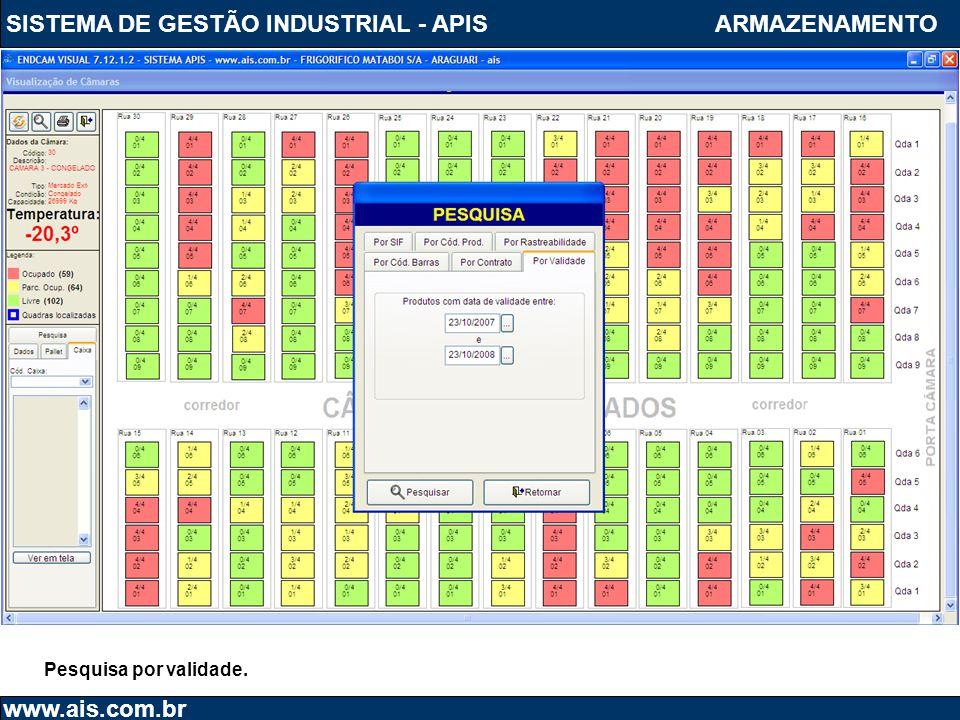 SISTEMA DE GESTÃO INDUSTRIAL - APIS www.ais.com.br ARMAZENAMENTO Pesquisa por validade.
