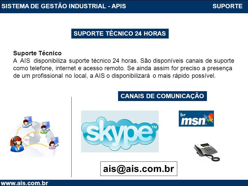 SISTEMA DE GESTÃO INDUSTRIAL - APIS www.ais.com.br SUPORTE TÉCNICO 24 HORAS Suporte Técnico A AIS disponibiliza suporte técnico 24 horas. São disponív