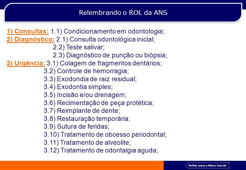 Relembrando o ROL da ANS 1) Consultas: 1.1) Condicionamento em odontologia; 2) Diagnóstico: 2.1) Consulta odontológica inicial; 2.2) Teste salivar; 2.