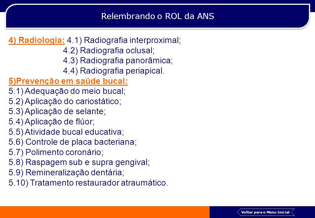 Relembrando o ROL da ANS 4) Radiologia: 4.1) Radiografia interproximal; 4.2) Radiografia oclusal; 4.3) Radiografia panorâmica; 4.4) Radiografia periap