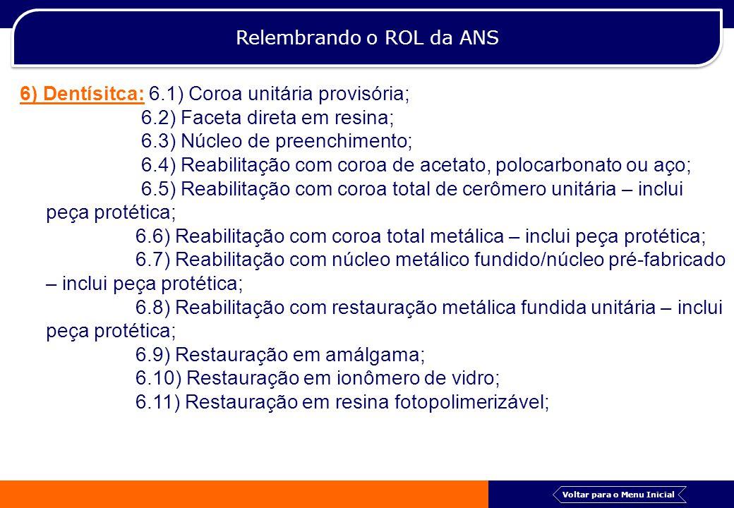Relembrando o ROL da ANS 6) Dentísitca: 6.1) Coroa unitária provisória; 6.2) Faceta direta em resina; 6.3) Núcleo de preenchimento; 6.4) Reabilitação