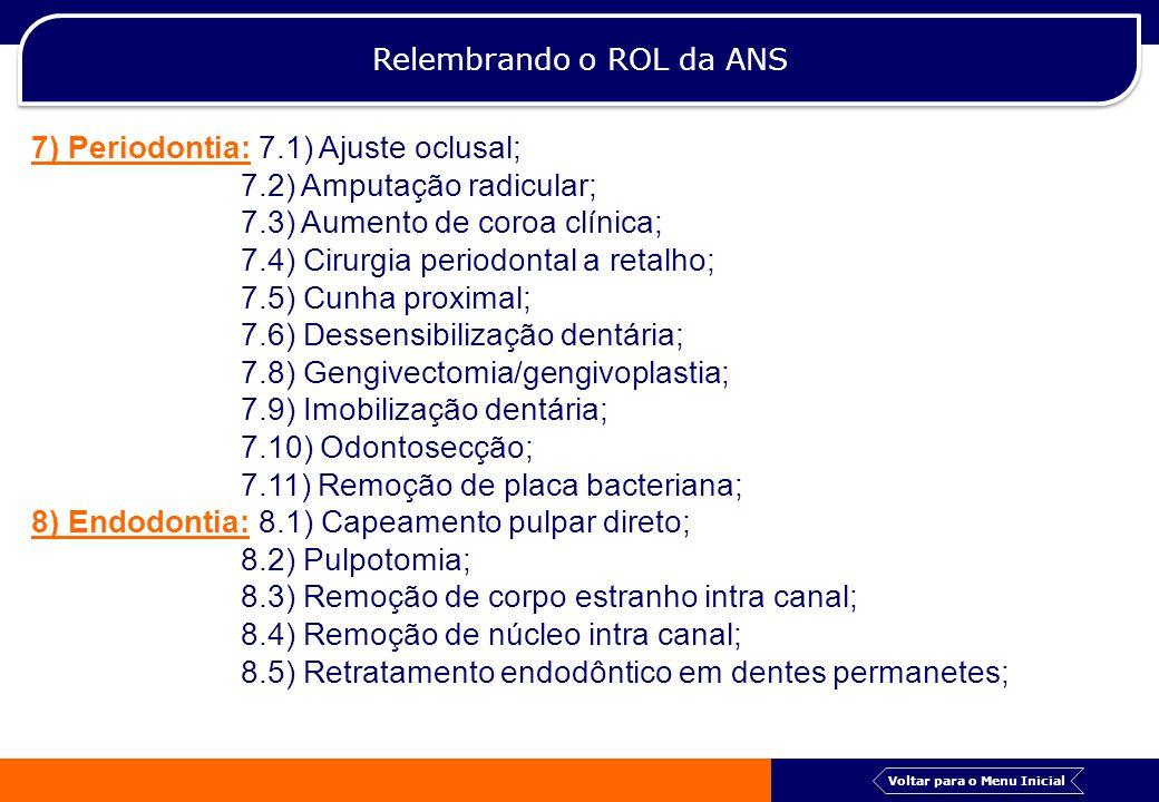 Relembrando o ROL da ANS 8.6) Tratamento de perfuração; 8.7) Tratamento endodôntico em dente com rezogênese incompleta; 8.8) Tratamento endodôntico em dentes decíduos; 8.9) Tratamento endodôntico em dentes permanentes; 9) Cirurgia: 9.1) Alveoloplastia; 9.2) Apicetomia; 9.3) Aprofundamento/aumento de vestíbulo; 9.4) Biópsia de boca, glândula salivar, língua, lábio, mandibula/maxila; 9.5) Bridectomia/bridotomia; 9.6) Cirurgia para tórus/exostose; 9.7) Exérese de pequenos cistos de mandíbula/maxila; 9.8) Exérese ou excisão de mucolece, rânula ou cálculo salivar; 9.9) Exodontia a retalho; 9.10) Frenotomia/frenectomia labial ou lingual; Voltar para o Menu Inicial