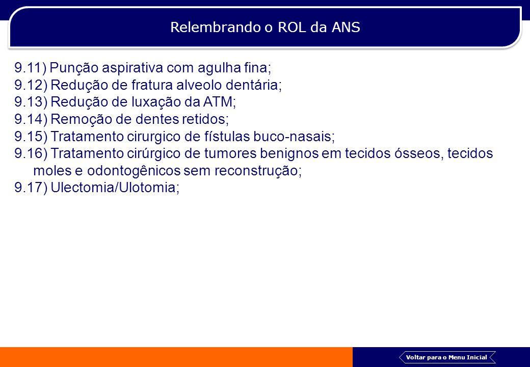 Relembrando o ROL da ANS 9.11) Punção aspirativa com agulha fina; 9.12) Redução de fratura alveolo dentária; 9.13) Redução de luxação da ATM; 9.14) Re
