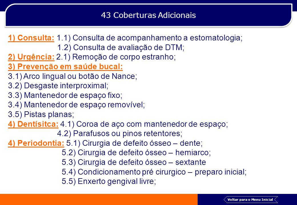 43 Coberturas Adicionais 1) Consulta: 1.1) Consulta de acompanhamento a estomatologia; 1.2) Consulta de avaliação de DTM; 2) Urgência: 2.1) Remoção de
