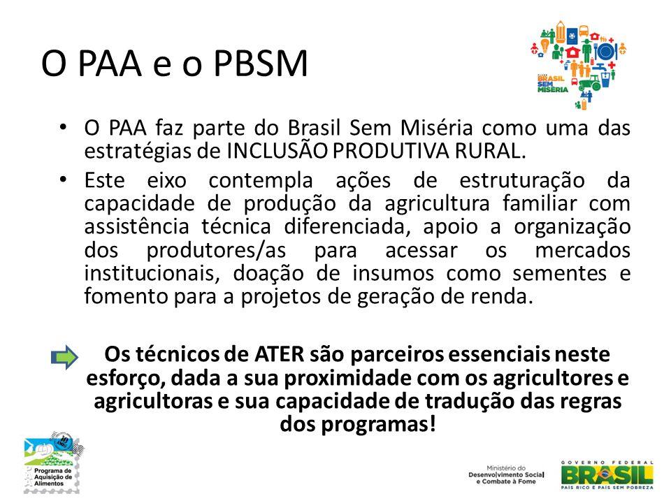 O PAA e o PBSM • O PAA faz parte do Brasil Sem Miséria como uma das estratégias de INCLUSÃO PRODUTIVA RURAL. • Este eixo contempla ações de estruturaç